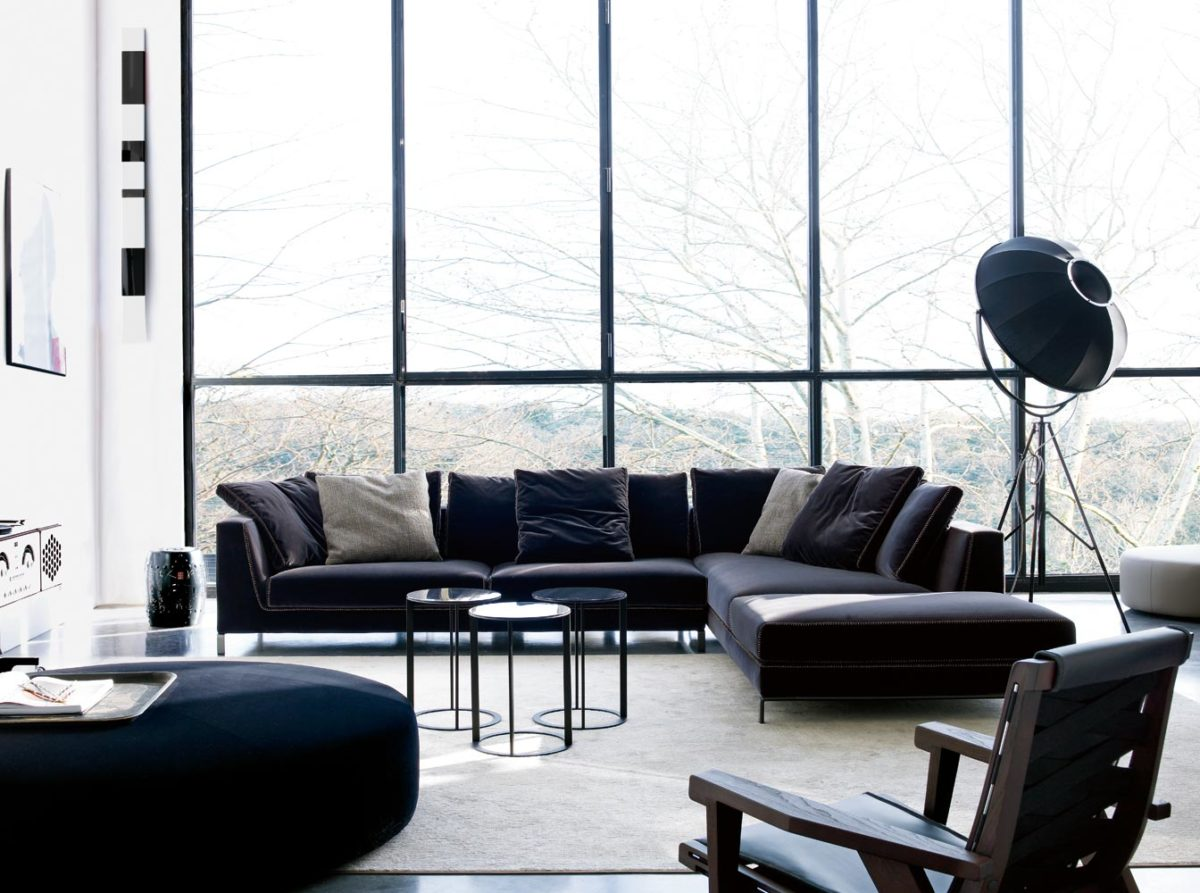 Sofa RAY, Beistelltisch FRANK/ MARA, Hocker HARRY LARGE von B&B ITALIA