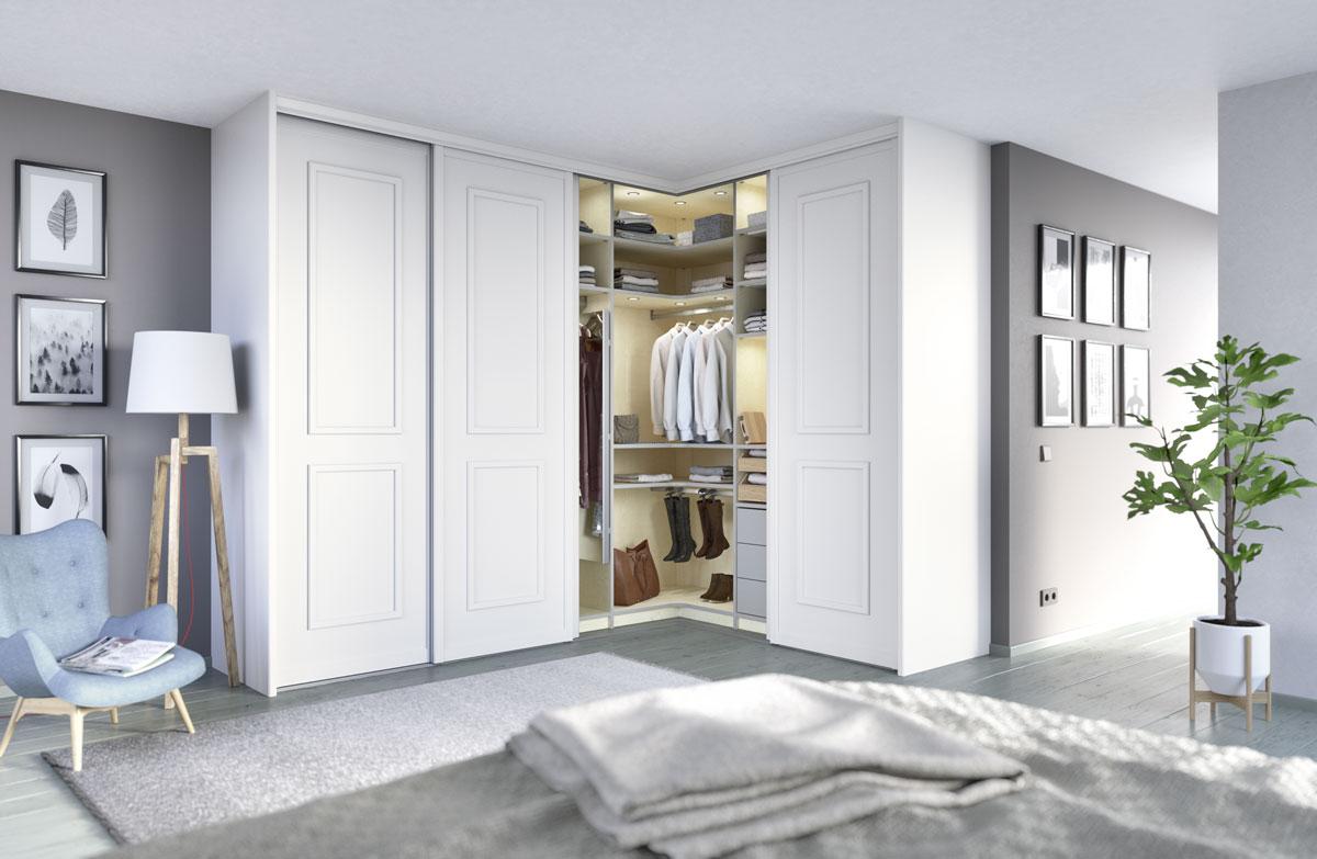 5-türiger Eckschrank Türenprogramm Pinato, Innensystem Vario Der Firma Cabinet