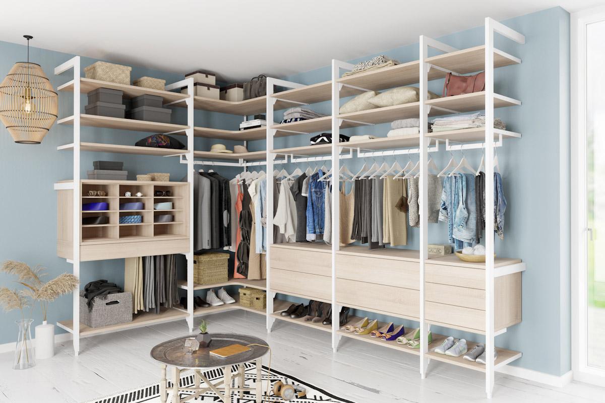 Ankleide Stollensystem ATRIO, Kombination aus Eiche Aragon- Weiss Der Firma Cabinet
