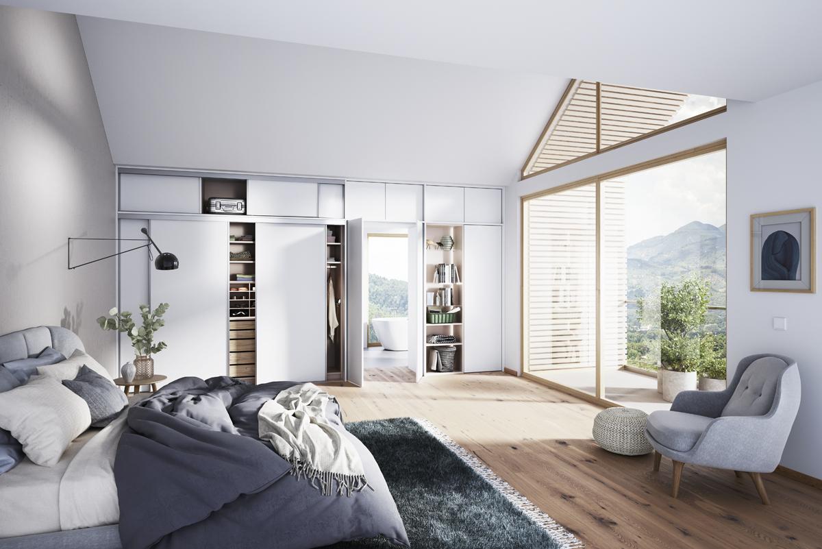 Einbauschrank Vario, Innensystem kombination aus Eiche Aragon, Türenprogramm Weiss Der Firma Cabinet