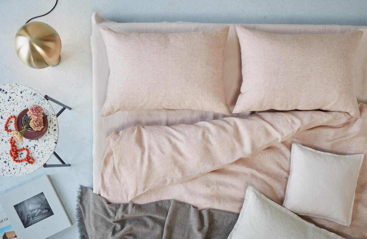 Decode by Luiz Bettwäsche Lienertes Leinen, Style Fourteen und Melly, Decke Lässig leichtes Plaid, Farbe 60 grau von Luiz