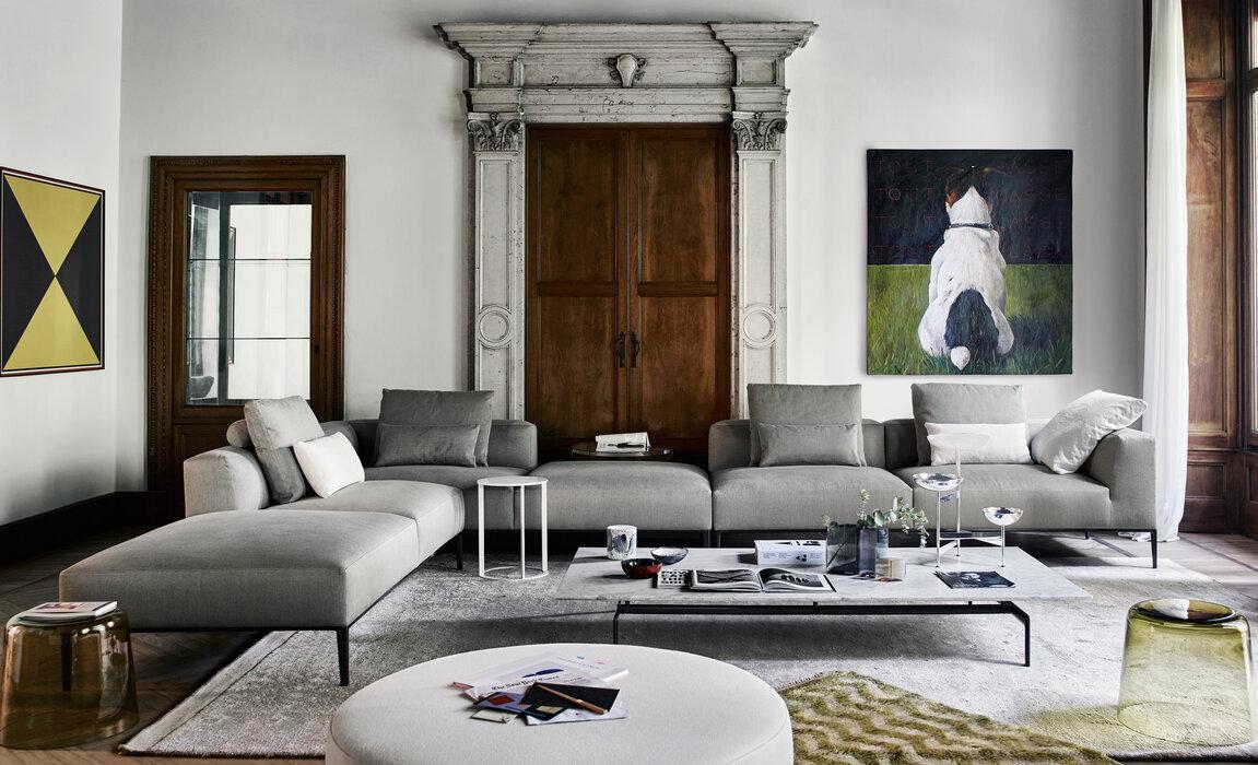 Sofa MICHEL EFFE, Beistelltisch FRANK/ DOCK, Hocker HARRY LARGE von B&B ITALIA