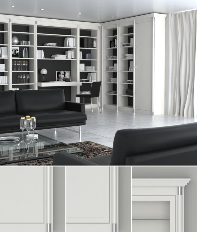VIENNA Die reizvolle, leichte Wohnwand mit Sideboard, Arbeitsbereich und Rückwandpaneel wird eingerahmt von Bücherregalen und einer Vitrine Der Firma KMK-Möbelwerkstätten
