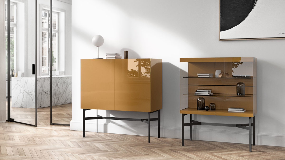 Sideboard-System JUST CUBE Light Der Firma Interlübke Hochglanzlack Masala/Klarglass Untegestell Onyx
